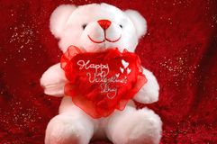 Valentines bear on red. A view of a cute little white teddy bear holding a valentine's heart next saying happy valentines day on a red velvet background with Royalty Free Stock Photo