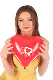 Valentines beauty girl with baloon in her hands Stock Image