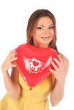 Valentines beauty girl with baloon in her hands Stock Photo