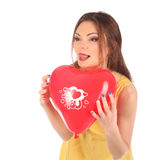 Valentines beauty girl with baloon in her hands Royalty Free Stock Photo