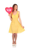 Valentines beauty girl with baloon in her hands Stock Photography