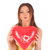 Valentines beauty girl with baloon in her hands Royalty Free Stock Images