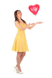 Valentines beauty girl with baloon in her hands Royalty Free Stock Image