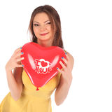 Valentines beauty girl with baloon in her hands Stock Photos