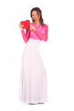 Valentines beauty girl with heart in her hands Royalty Free Stock Photos