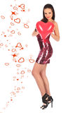Valentines beautyfull girl with balloon heart in her hands Stock Image