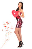 Valentines beautyfull girl with balloon heart in her hands Royalty Free Stock Photos