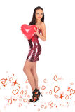 Valentines beautyfull girl with balloon heart in her hands Royalty Free Stock Images