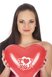 Valentines beautyfull girl with balloon heart in her hands Royalty Free Stock Image