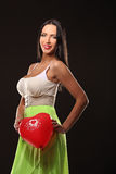 Valentines beautyfull girl with balloon heart in her hands Stock Photography