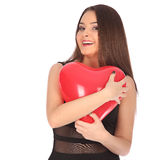 Valentines beautyfull girl with balloon heart in her hands Stock Photo