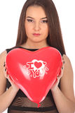 Valentines beautyfull girl with balloon heart in her hands Stock Photos