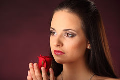 Valentines beautyfull girl with red rose in her hands Stock Photos