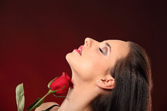 Valentines beautyfull girl with red rose in her hands Stock Image