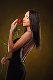 Valentines beautyfull girl with red rose in her hands Royalty Free Stock Image