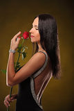 Valentines beautyfull girl with red rose in her hands Stock Photography