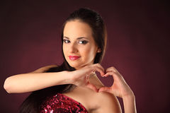 Valentines beautyfull girl with smile and hearth Stock Image