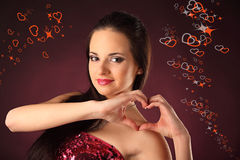 Valentines beautyfull girl with smile and hearth Stock Images
