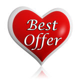 Valentines best offer red heart banner Royalty Free Stock Photography