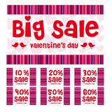 Valentines big sale. Valentines day big sale labels, red, pink and purple colors Stock Image