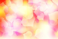 Valentines blurred harts colorful background. Pink yellow valentines day blurred heart background.Romantic shining backdrop Stock Photography