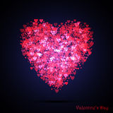 Valentines bokeh hearts. Many of transparent hearts in the shape of big heart. Design card scrapbook. Vector Royalty Free Stock Photo