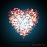 Valentines bokeh hearts. Many of transparent hearts in the shape of big heart. Vector illustration. Stock Images