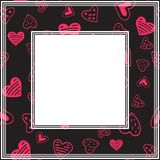 Valentines border-07. Romantic border with hearts. Valentines Day illustration. Design element for photo frame and romantic decorations royalty free illustration