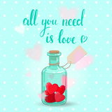 Valentines bottle Royalty Free Stock Images