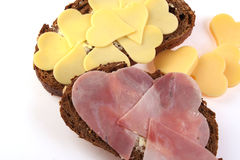 Valentines Breakfast. Nice brown bread  on a withe isolated background with copy space  (with clipping path Royalty Free Stock Photo