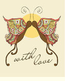 Valentines Butterfly. Romantic Valentine´s Card or Ilustration, Sixties Style Stock Image