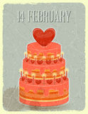 Valentines Cake on Grunge Background Stock Photos