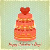 Valentines Cake on Vintage Background Royalty Free Stock Images