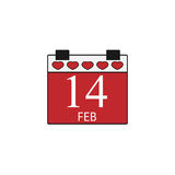 Valentines calendar flat icon, valentines day. Valentines calendar solid icon, 14 February valentines day , vector graphics, a colorful linear pattern on a white Royalty Free Illustration