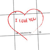 Valentines calendar. I love you in heart on calendar. Valentines Day 14. Feb Stock Illustration