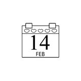 Valentines calendar line icon, valentines day. Valentines calendar line icon, 14 February valentines day , vector graphics, a linear pattern on a white Stock Photography
