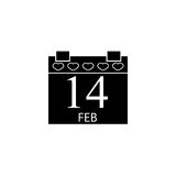 Valentines calendar solid icon, valentines day. Valentines calendar solid icon, 14 February valentines day , vector graphics, a filled pattern on a white Stock Images