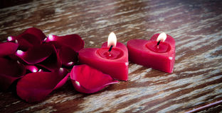 Valentines candles Royalty Free Stock Image