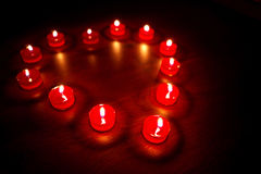 Valentines candles In the form of heart Royalty Free Stock Photo