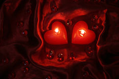 Romantic Valentine candles Stock Images