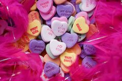 Valentines Candy. Colorful heart shaped valentines candy with cute messages Stock Photos