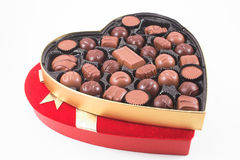Valentines Candy. A heart shaped box of chocolate Valentines candy stock photos