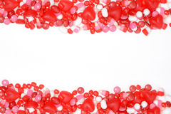 Valentines candy border royalty free stock photos