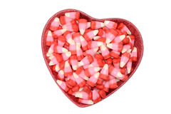 Valentines candy corn in heart bowl Royalty Free Stock Photography