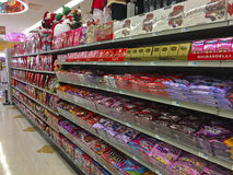 Valentines Candy Display. CLARKESVILLE, GA, USA- DECEMBER 30,2016: Rite Aid Drug Store. A Valentines display on the store shelves in a Rite Aid Drug Store, set royalty free stock photo
