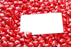 Valentines candy hearts with blank card Royalty Free Stock Photo