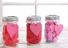 Valentines Candy Jars Stock Photo