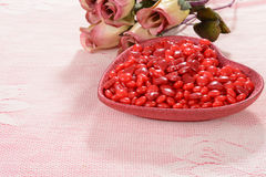 Valentines candy with roses Royalty Free Stock Photo