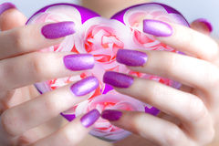 Valentines card-. Rose and hearts in female hands with beautiful manicure Stock Image