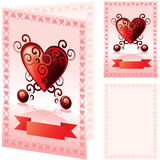 Valentines card. Isometric, front and inside, layered and grouped illustration for easy editing Stock Photography